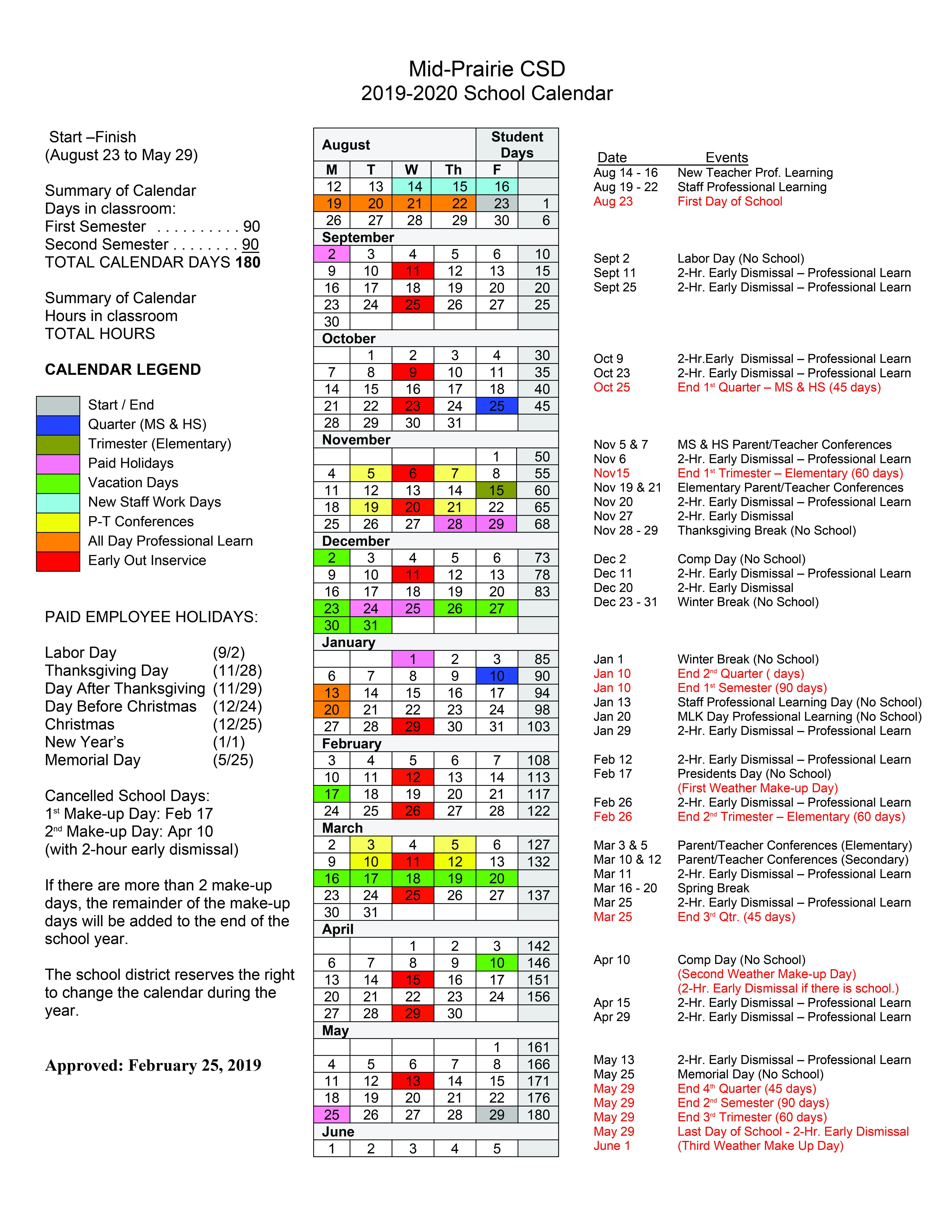 2019 2020 District Calendar Mid Prairie Community School District