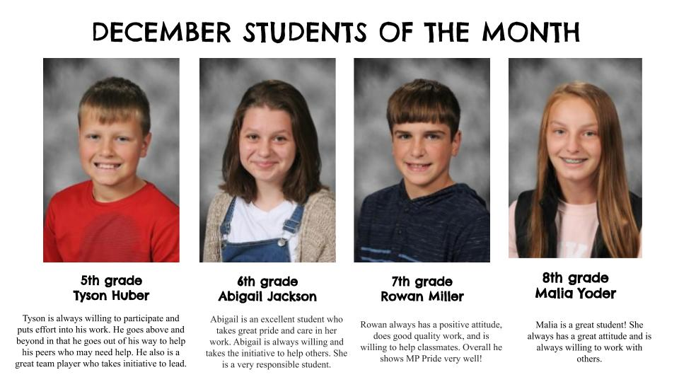December 2020 Students of the Month