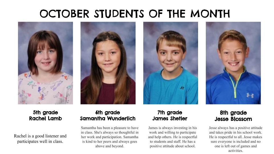 October 2020 Students of the Month