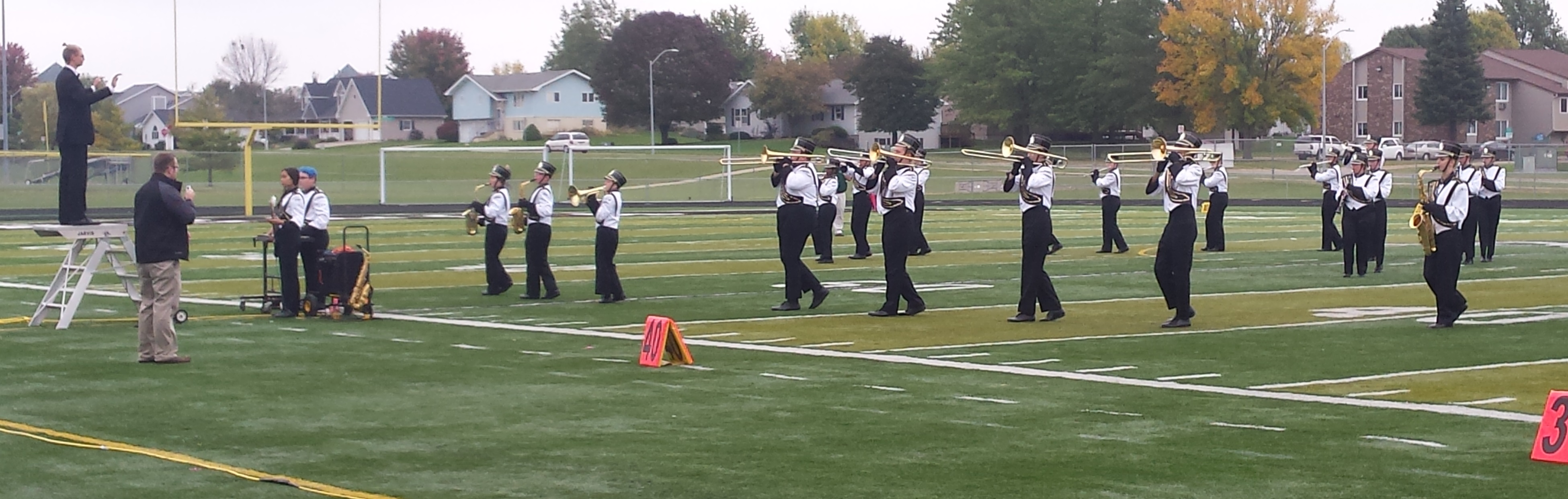Marching band practices in uniform